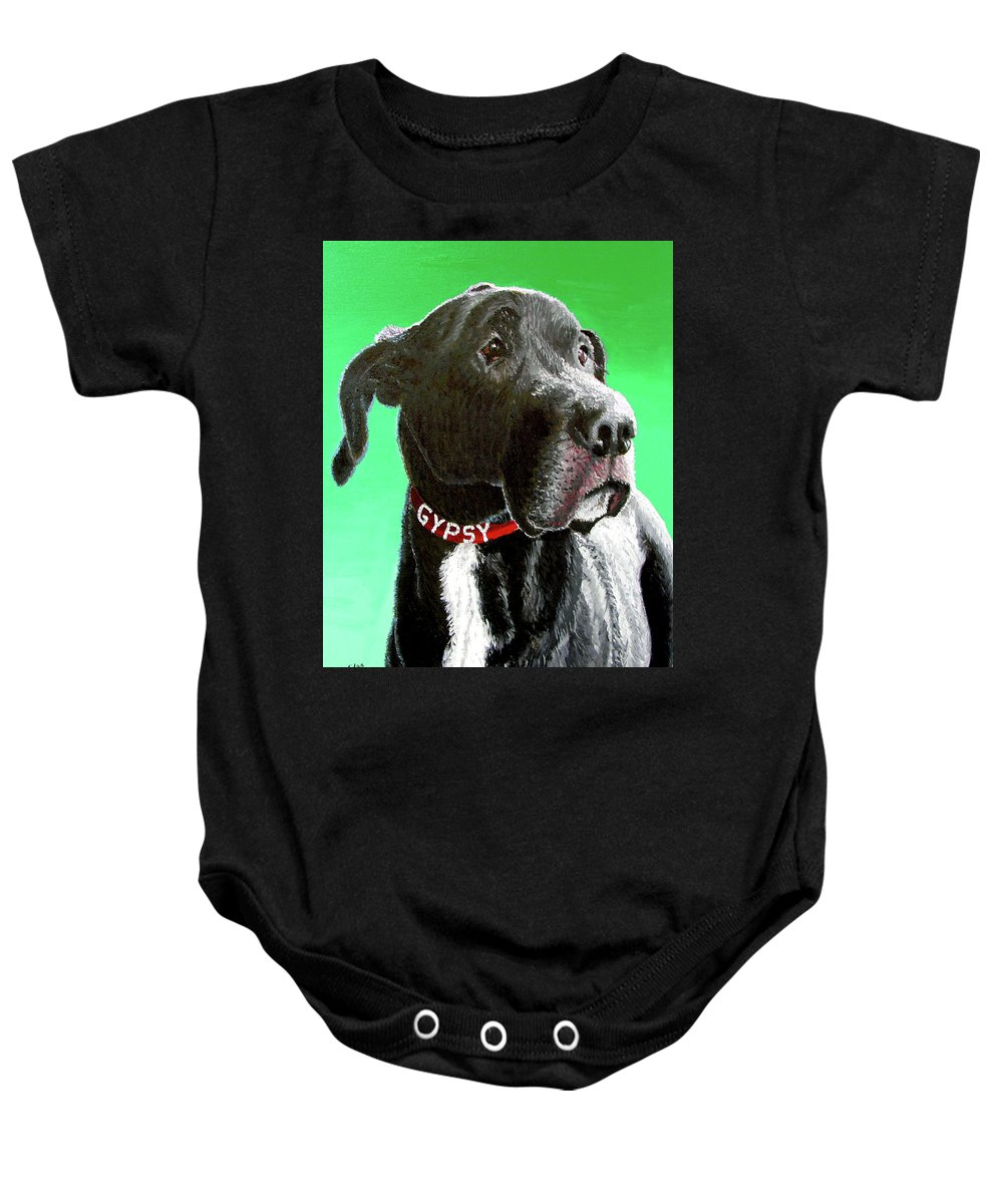 Dog Portrait Baby Onesie featuring the painting Gypsy by Stan Hamilton
