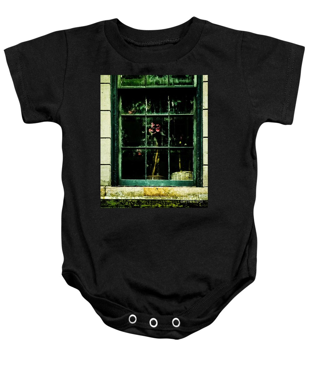 Window Baby Onesie featuring the photograph In The Window by Frances Ann Hattier