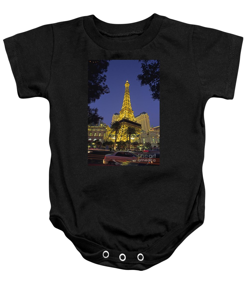 Architectural Art Baby Onesie featuring the photograph Las Vegas, Paris Hotel by Carl Shaneff - Printscapes