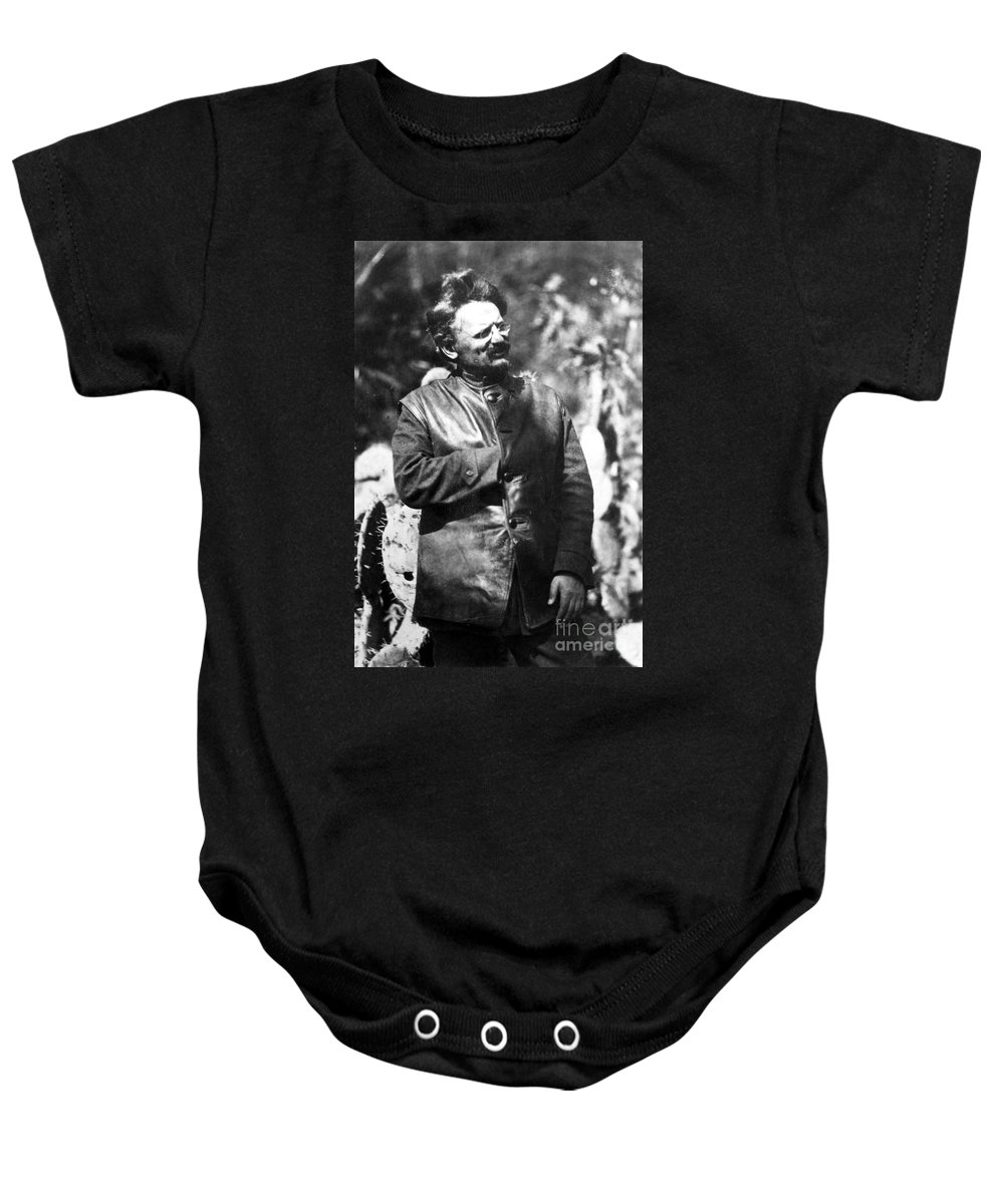 1930s Baby Onesie featuring the photograph Leon Trotsky (1879-1940) by Granger