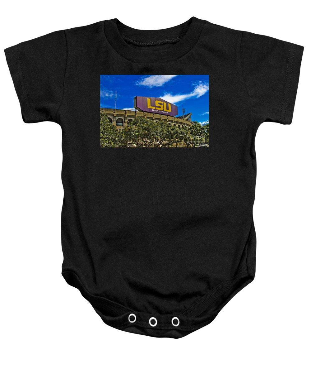 Lsu Baby Onesie featuring the photograph Lsu Tiger Stadium by Scott Pellegrin