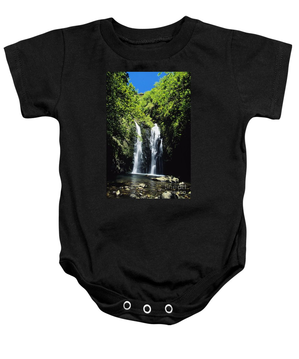 Amid Baby Onesie featuring the photograph Maui Waterfall by Dave Fleetham - Printscapes