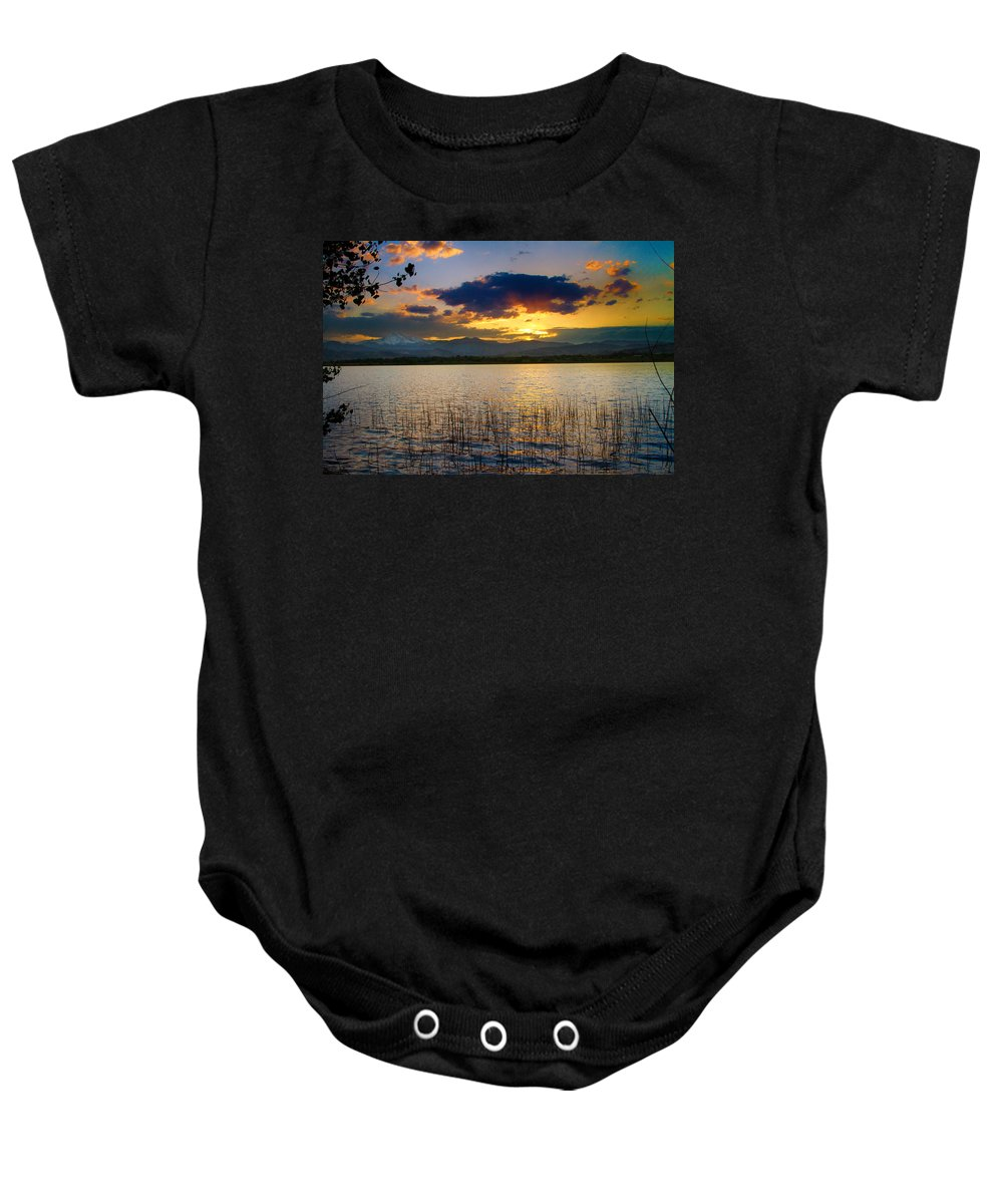 Longs Peak Baby Onesie featuring the photograph Mcintosh Lake Sunset by James BO Insogna