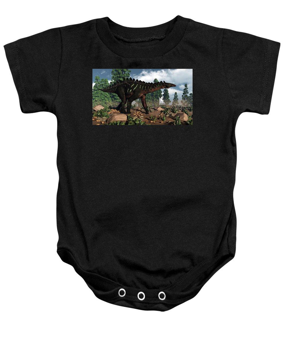 Dinosaur Baby Onesie featuring the digital art Miragaia Dinosaur - 3d Render by Elenarts - Elena Duvernay Digital Art
