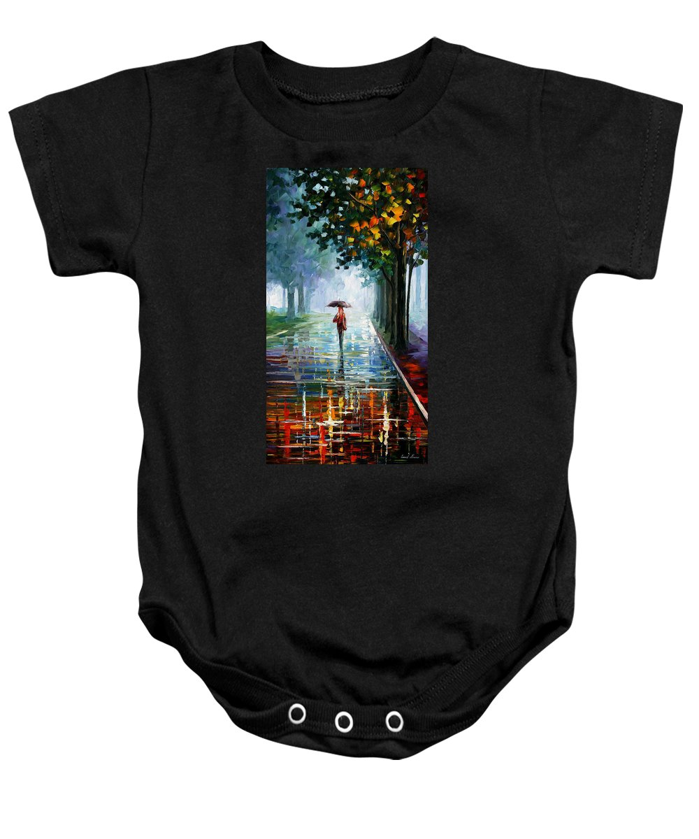 Landscape Baby Onesie featuring the painting Morning Fog by Leonid Afremov