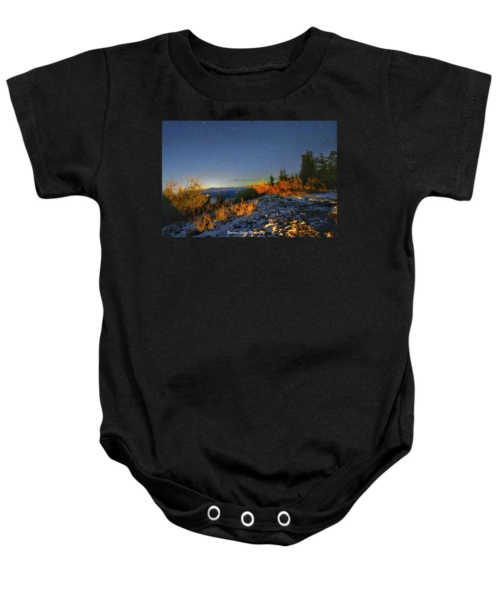Baby Onesie featuring the photograph Northern Lights At Mount Pilchuck by Brandon Larson