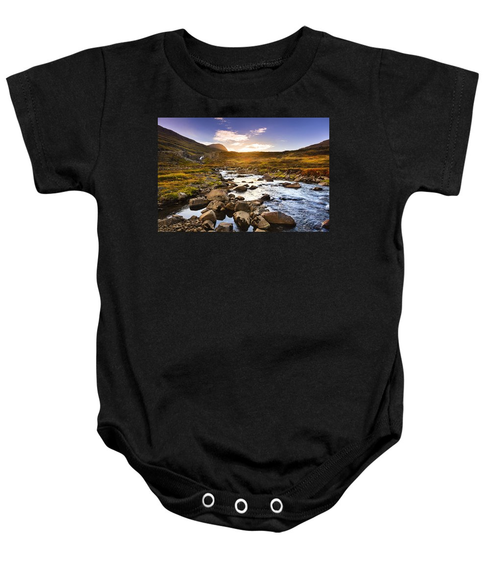 Eastern Baby Onesie featuring the photograph Seydisfjordur Fjord Valley by Alexey Stiop