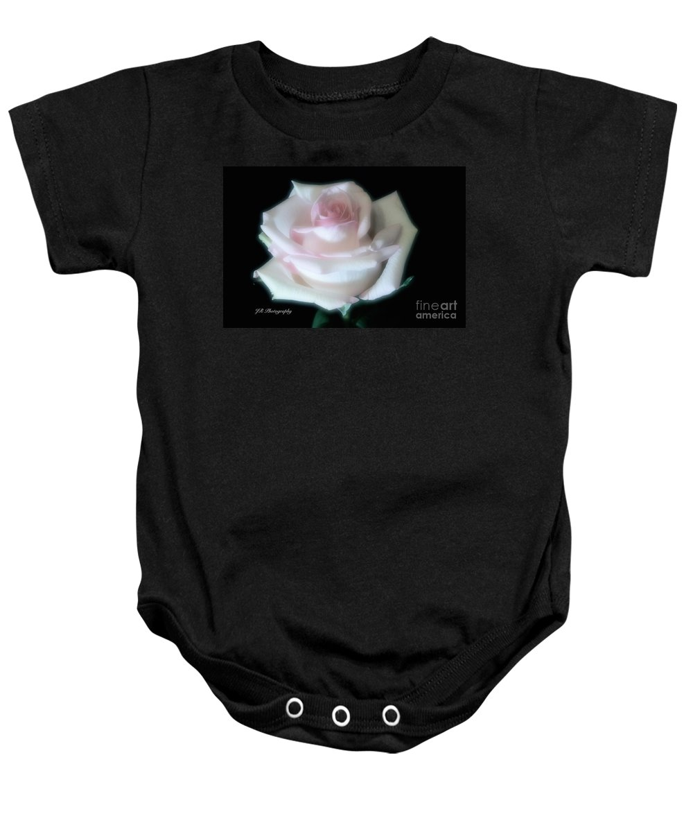 Anniversaries Baby Onesie featuring the photograph Soft Pink Rose Bud by Jeannie Rhode