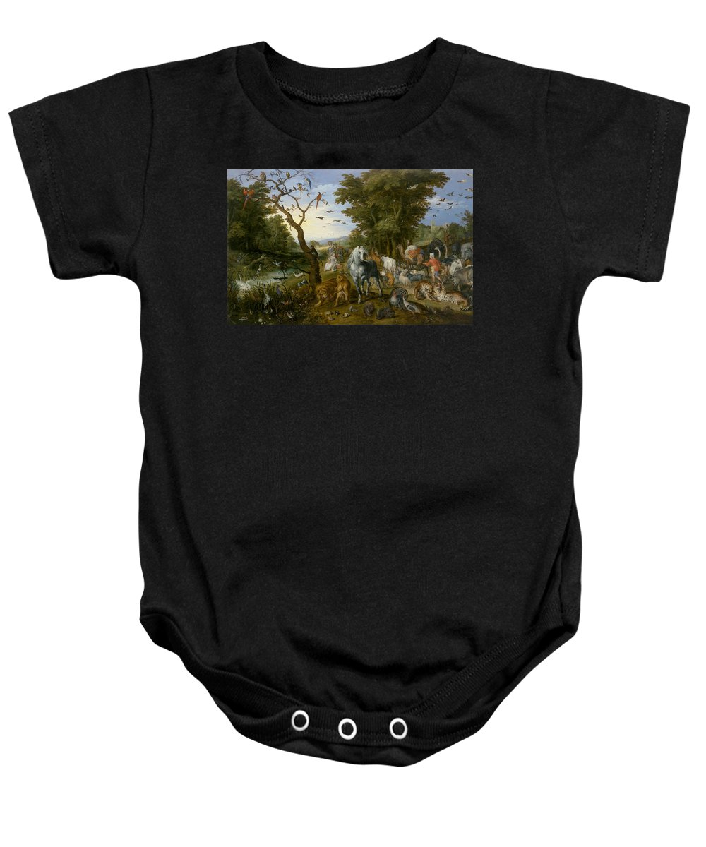 Jan Brueghel The Elder Baby Onesie featuring the painting The Entry Of The Animals Into Noah's Ark by Jan Brueghel the Elder