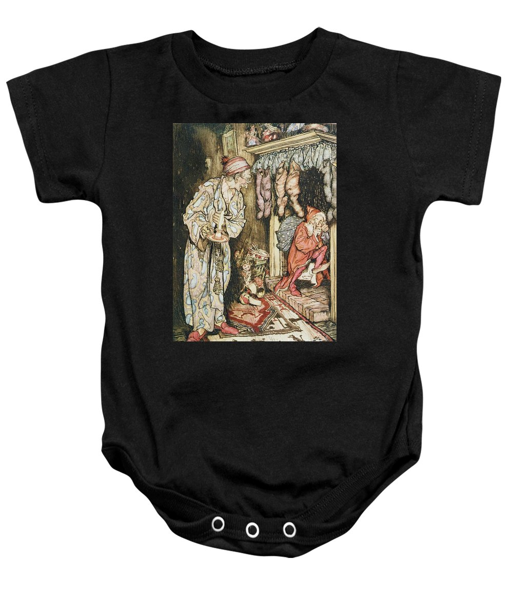 Xmas Baby Onesie featuring the drawing The Night Before Christmas by Arthur Rackham