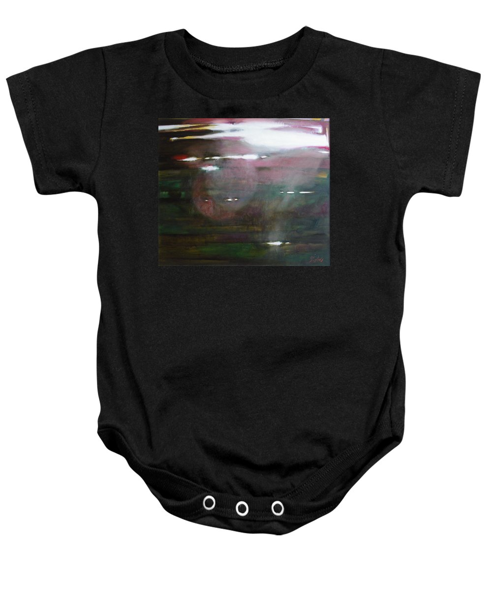 Oil Baby Onesie featuring the painting The Parallel World by Sergey Ignatenko