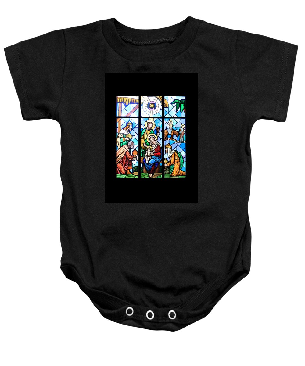 Stained Glass Baby Onesie featuring the photograph The Window by Munir Alawi