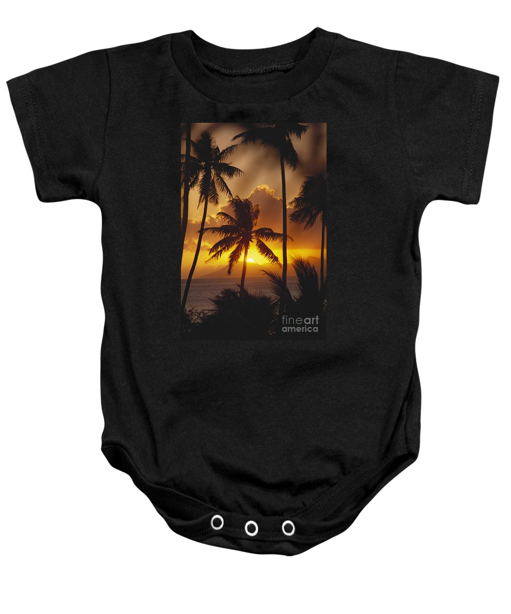 Beautiful Baby Onesie featuring the photograph View Of Tahiti by Joe Carini - Printscapes