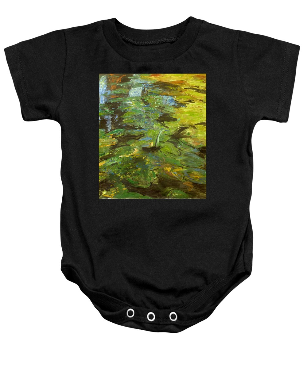 Bay Baby Onesie featuring the painting Water Lilies by Robert Nizamov