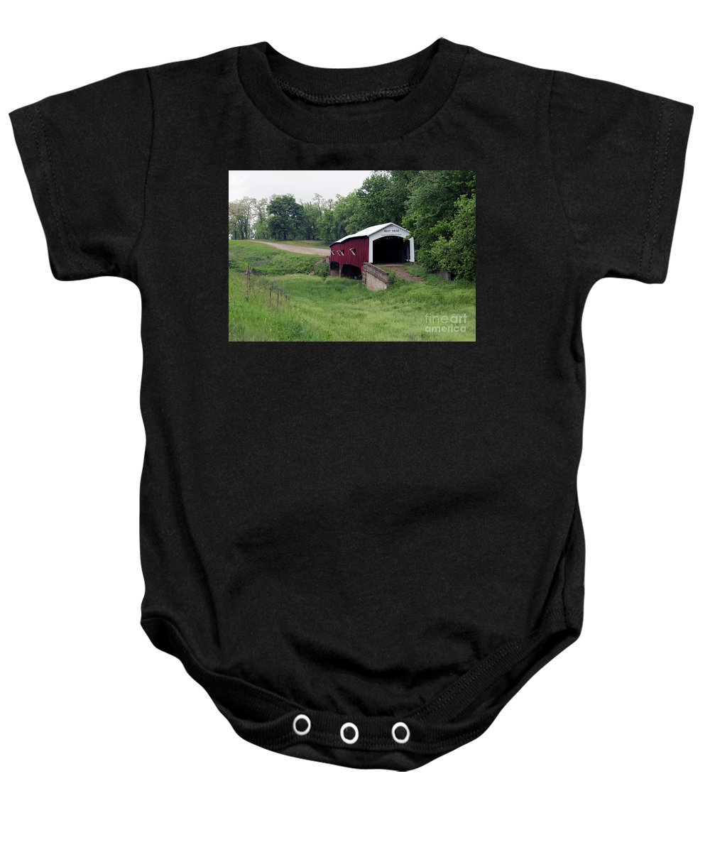 Covered Baby Onesie featuring the photograph West Union Covered Bridge, Indiana by Steve Gass