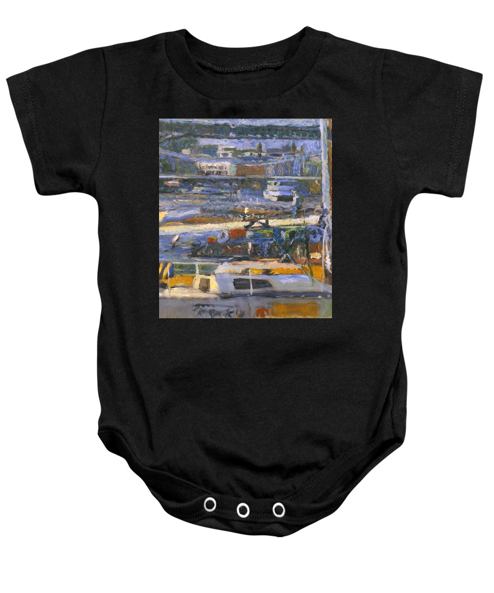 Bay Baby Onesie featuring the painting Regatta by Robert Nizamov