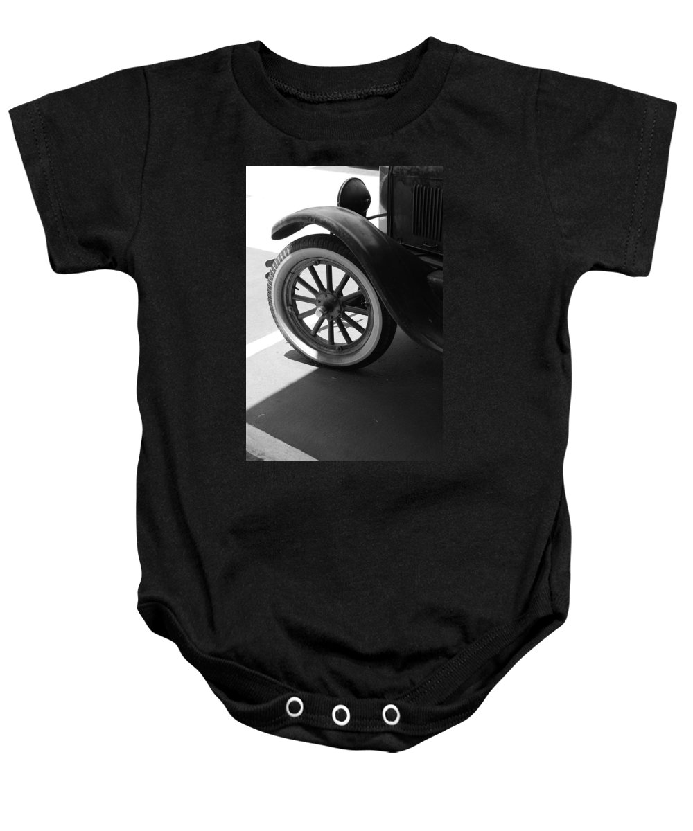 Black And White Baby Onesie featuring the photograph 1926 Model T Ford by Rob Hans
