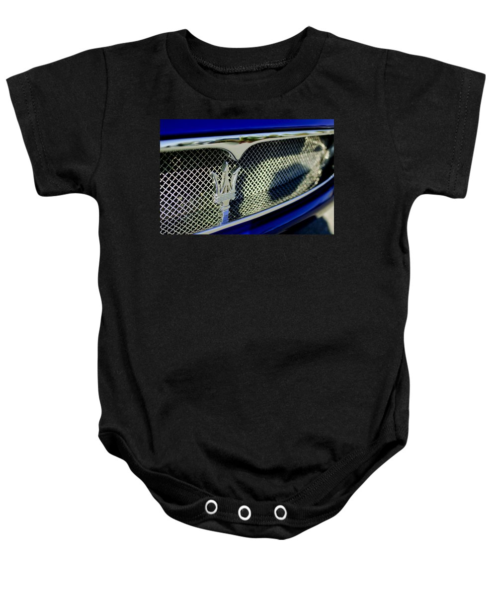 2002 Maserati Baby Onesie featuring the photograph 2002 Maserati Hood Ornament by Jill Reger