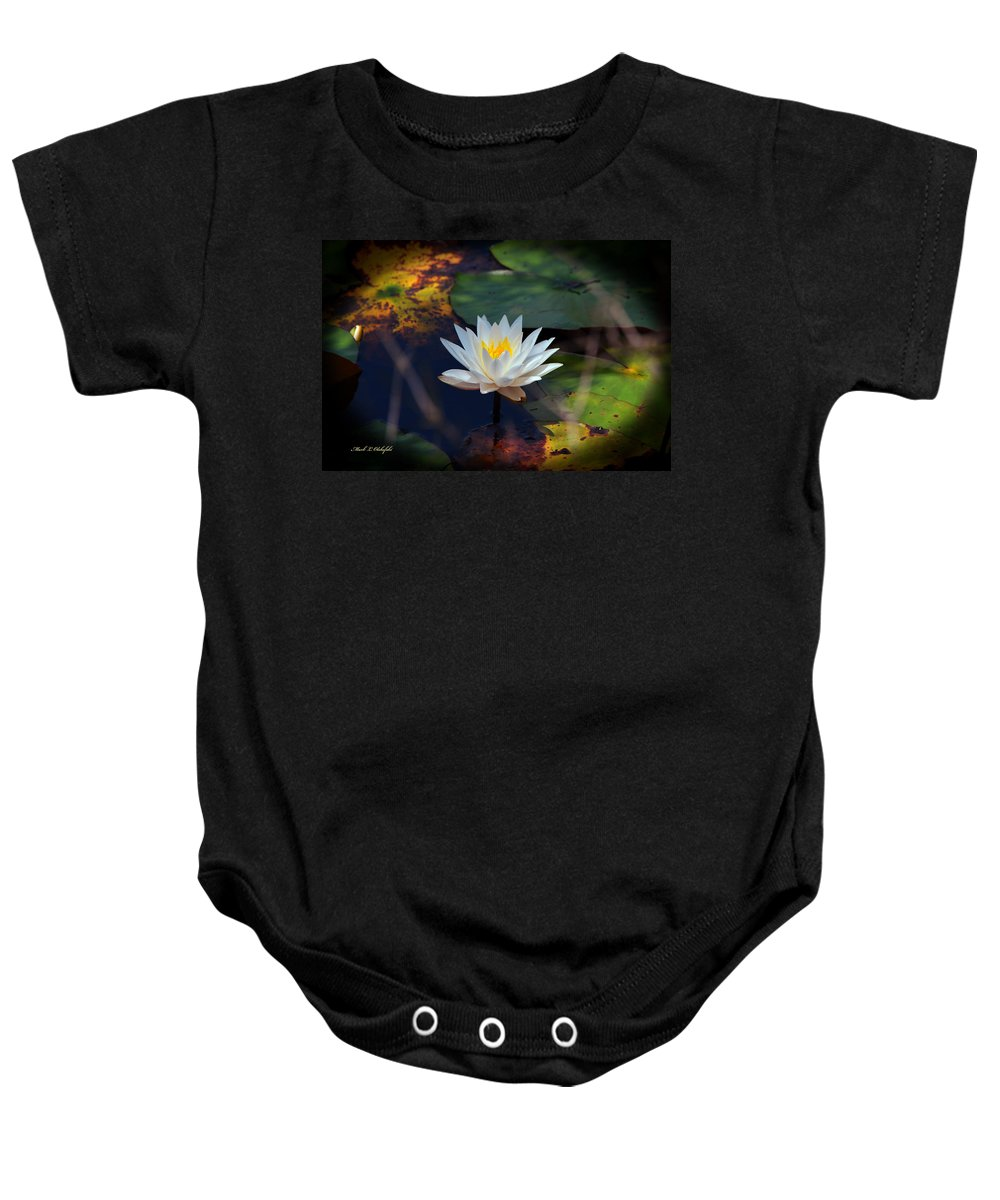 Water Lillie Baby Onesie featuring the photograph 2015 04 26 03 0020 by Mark Olshefski