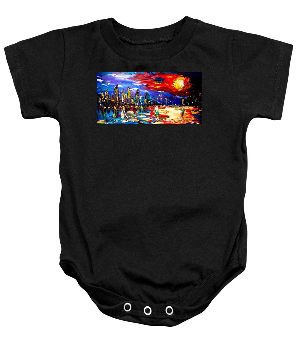 Landscape Framed Prints Baby Onesie featuring the painting New York by Mark Kazav