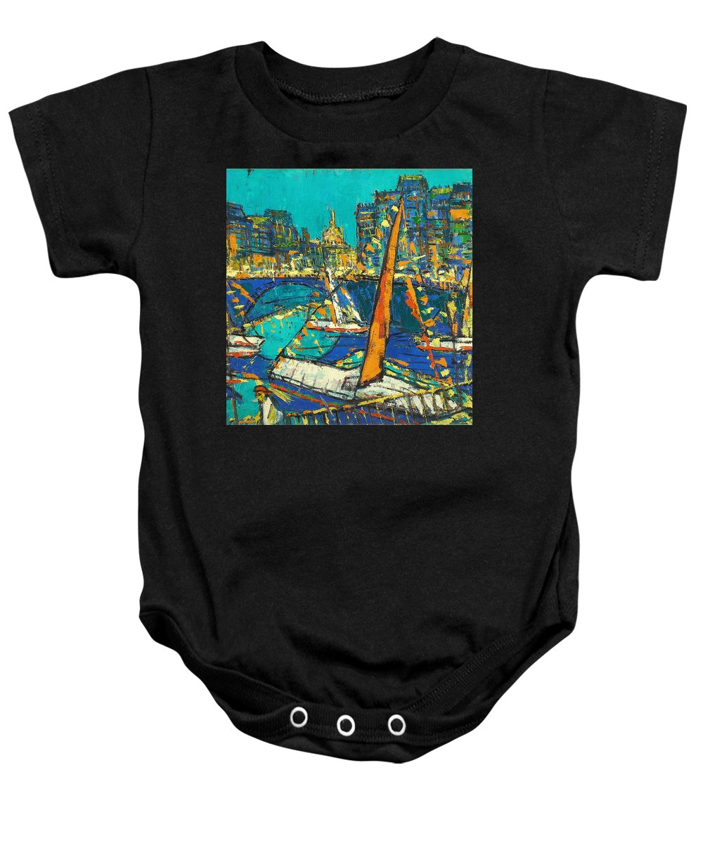 Bay Baby Onesie featuring the painting City by Robert Nizamov