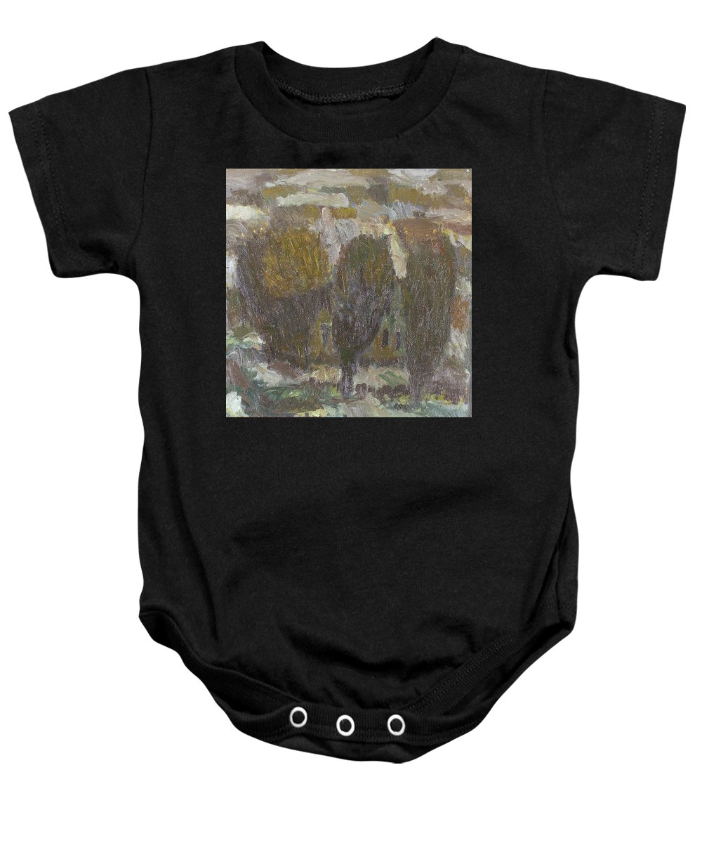 Snow Baby Onesie featuring the painting Village by Robert Nizamov