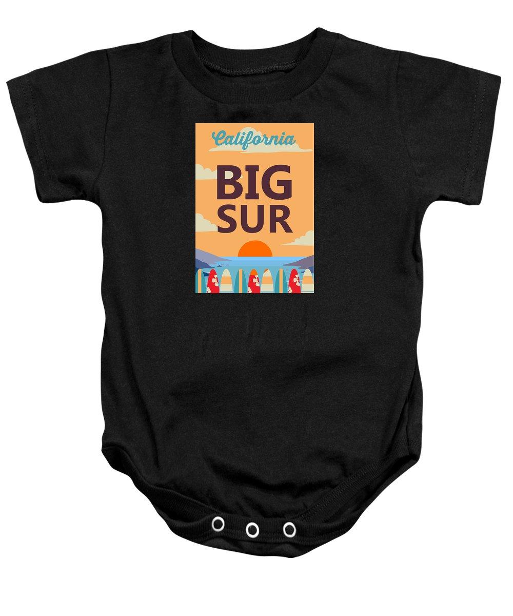 California Baby Onesie featuring the digital art Big Sur by American Roadside