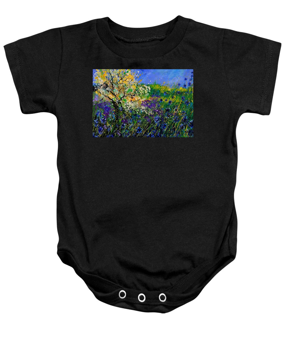 Flowers Baby Onesie featuring the painting Blue Cornflowers by Pol Ledent