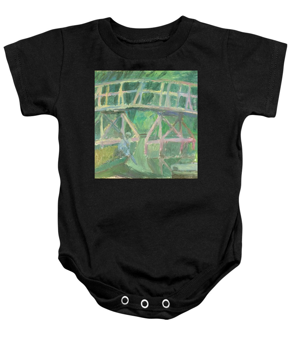 River Baby Onesie featuring the painting Bridge by Robert Nizamov