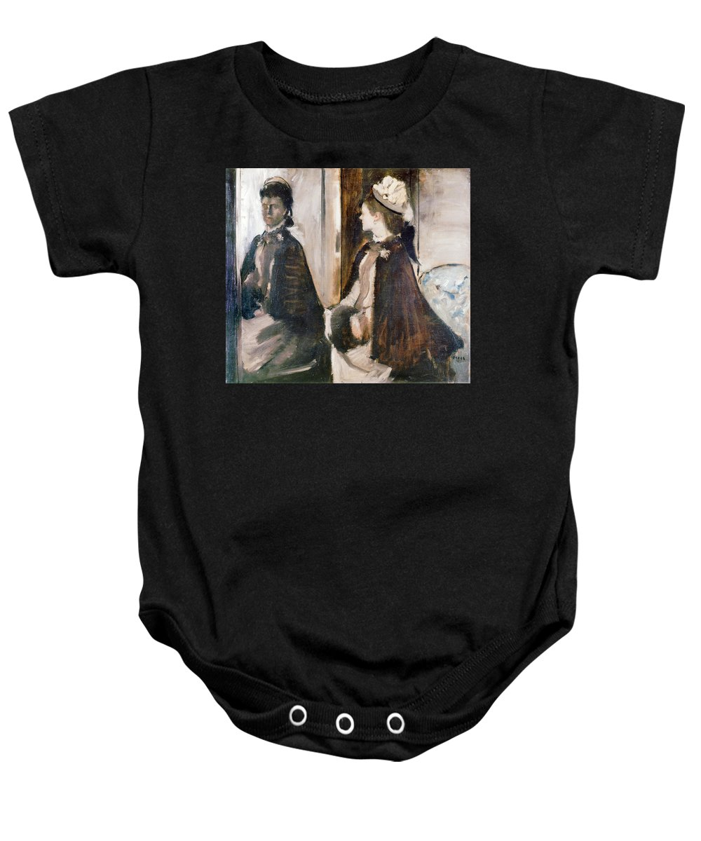 Women Baby Onesie featuring the painting Mrs Jeantaud In The Mirror by Edgar Degas