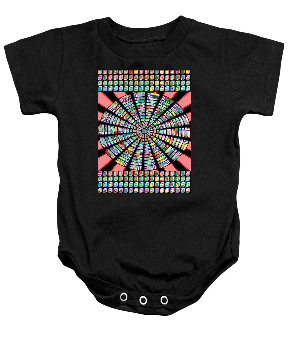 Novino Baby Onesie featuring the painting Novino Sale Fineart Chakra Mandala Round Circle Inspirational Healing Art At Fineartamerica.com By N by Navin Joshi