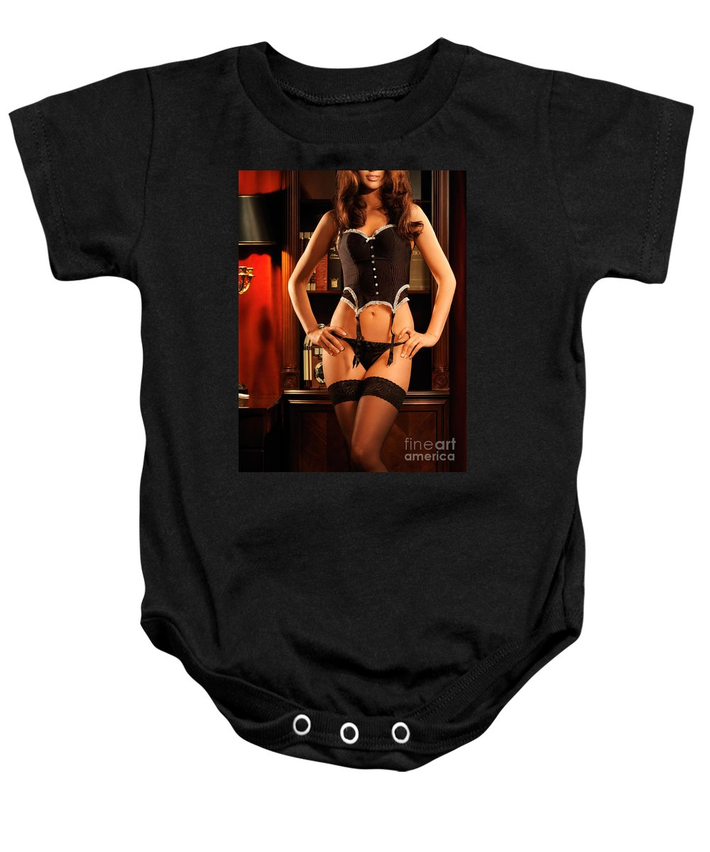 Lingerie Baby Onesie featuring the photograph Sexy Young Woman In Black Lingerie by Oleksiy Maksymenko