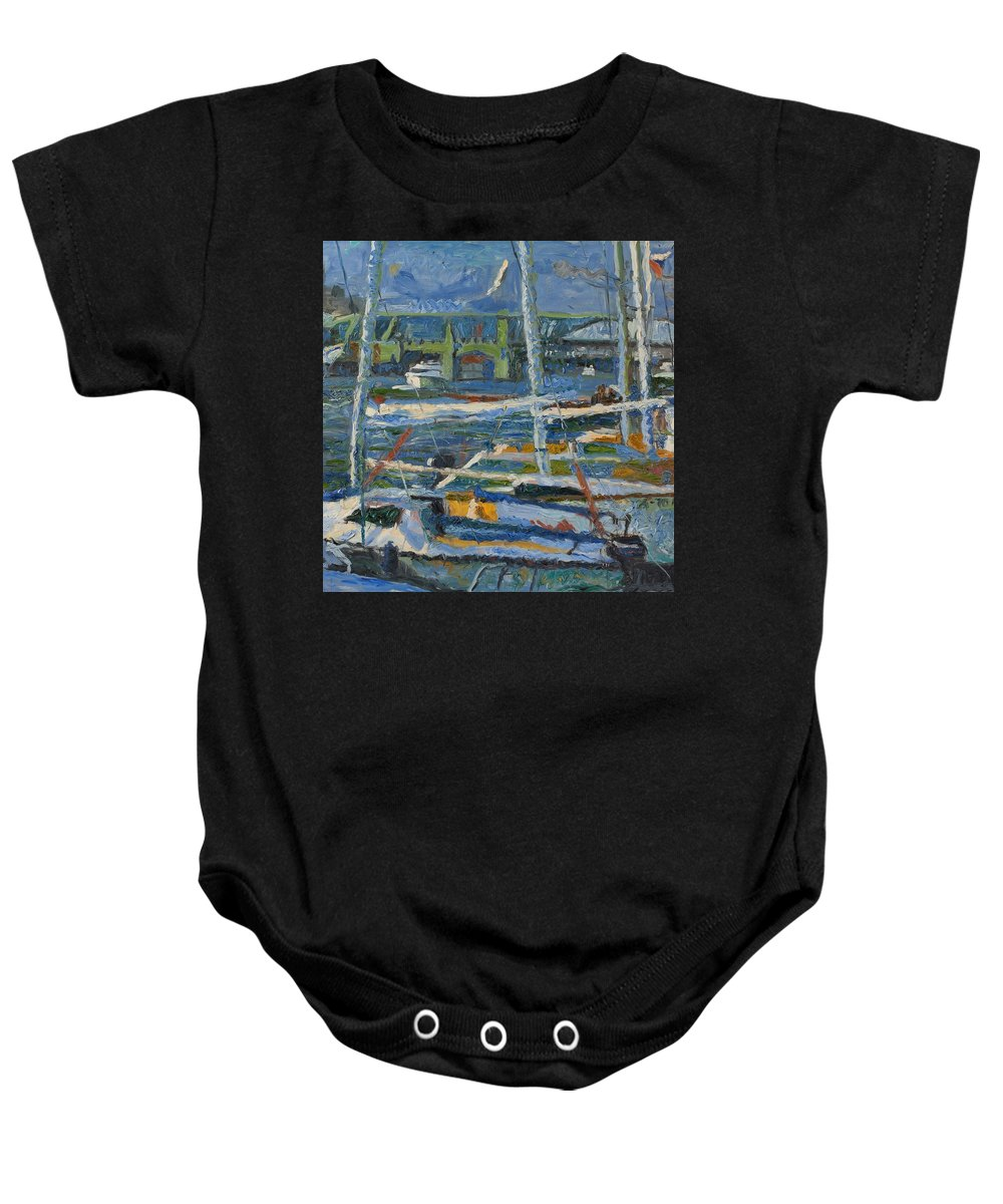 Amsterdam Baby Onesie featuring the painting Yachts by Robert Nizamov