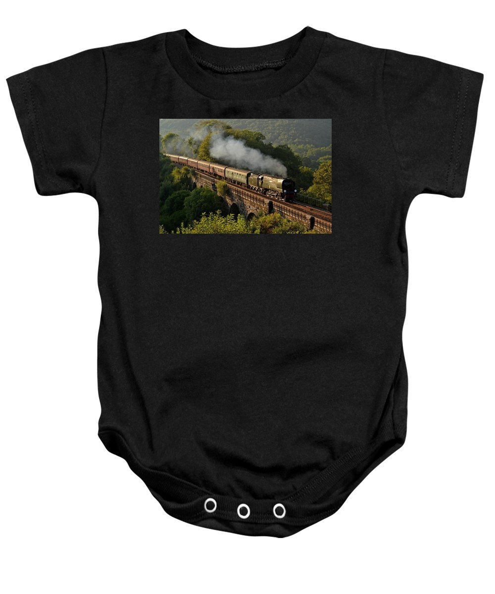 Steam Baby Onesie featuring the photograph 34067 Tangmere On Return. by Ashley Jackson