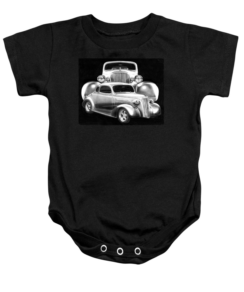 1937 Chevrolet Coupe Baby Onesie featuring the drawing 37 Double C by Peter Piatt