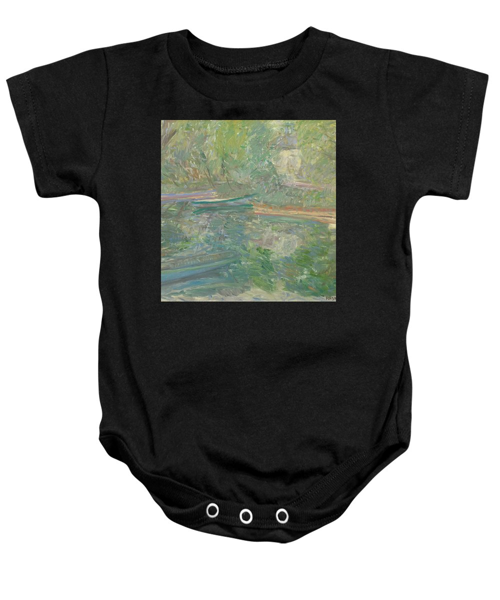 Bay Baby Onesie featuring the painting River by Robert Nizamov