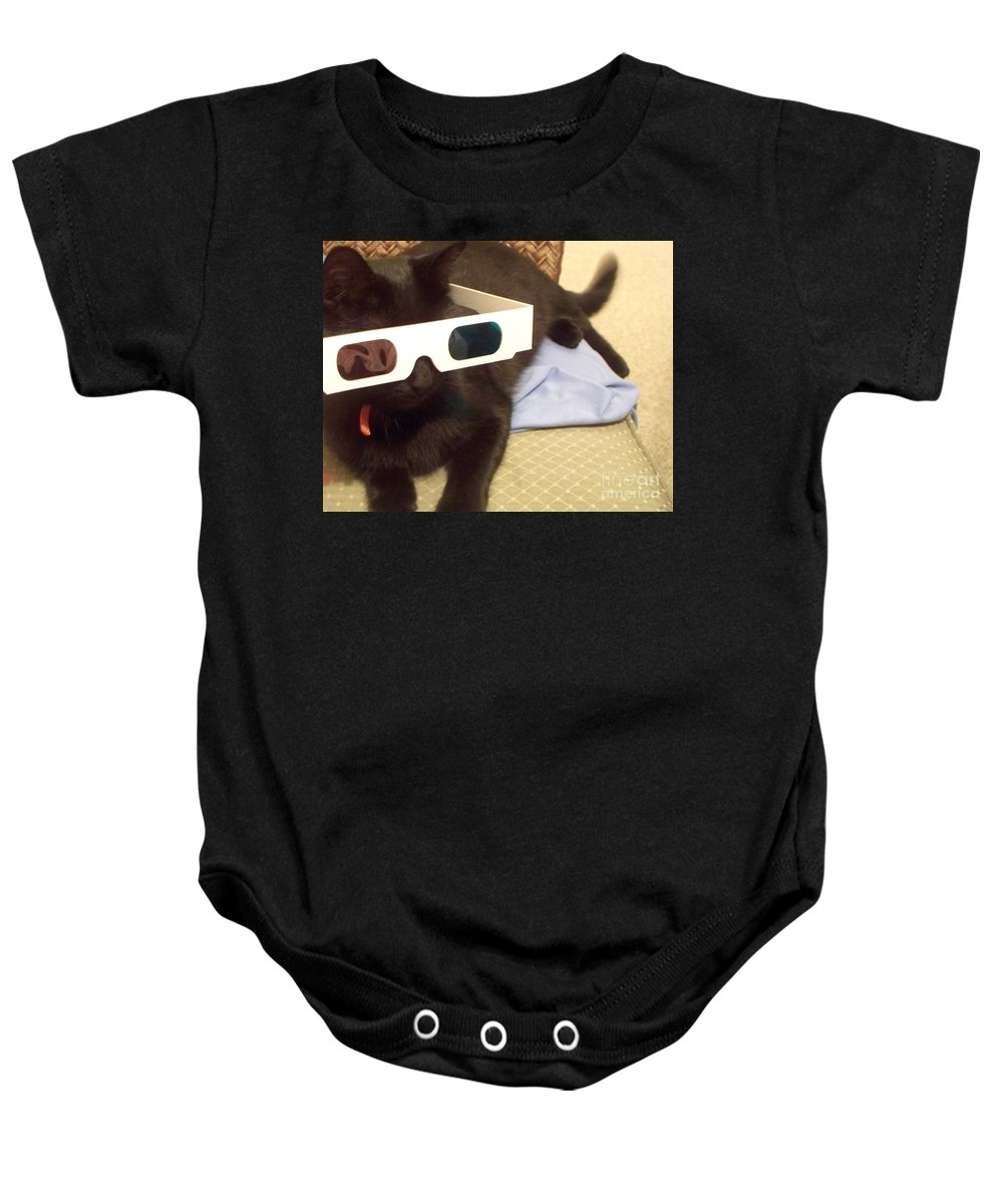 3d Baby Onesie featuring the photograph 3d Cat by Eric Schiabor