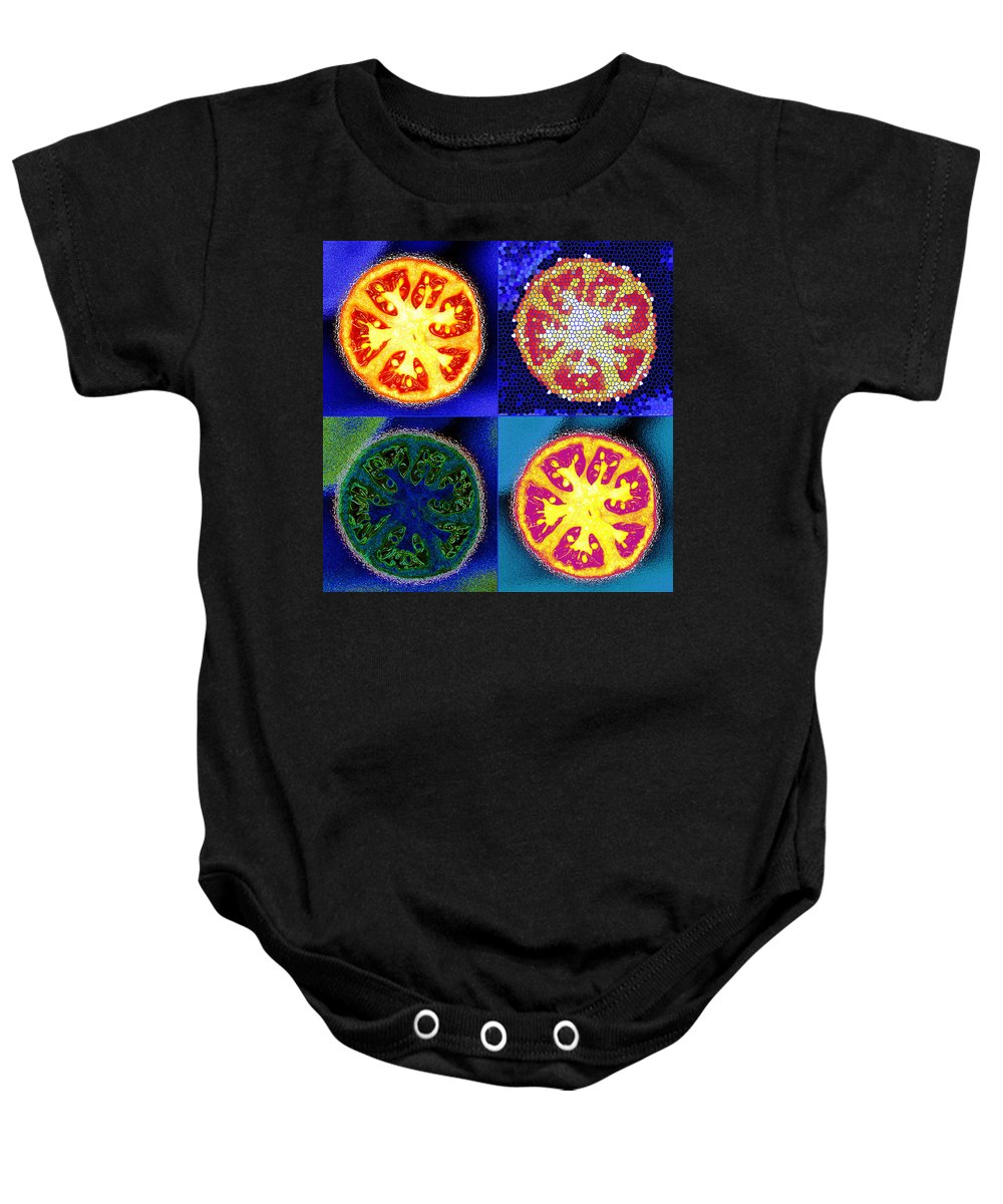 Tomatoes Baby Onesie featuring the photograph 4 Abstract Tomatoes by Nancy Mueller