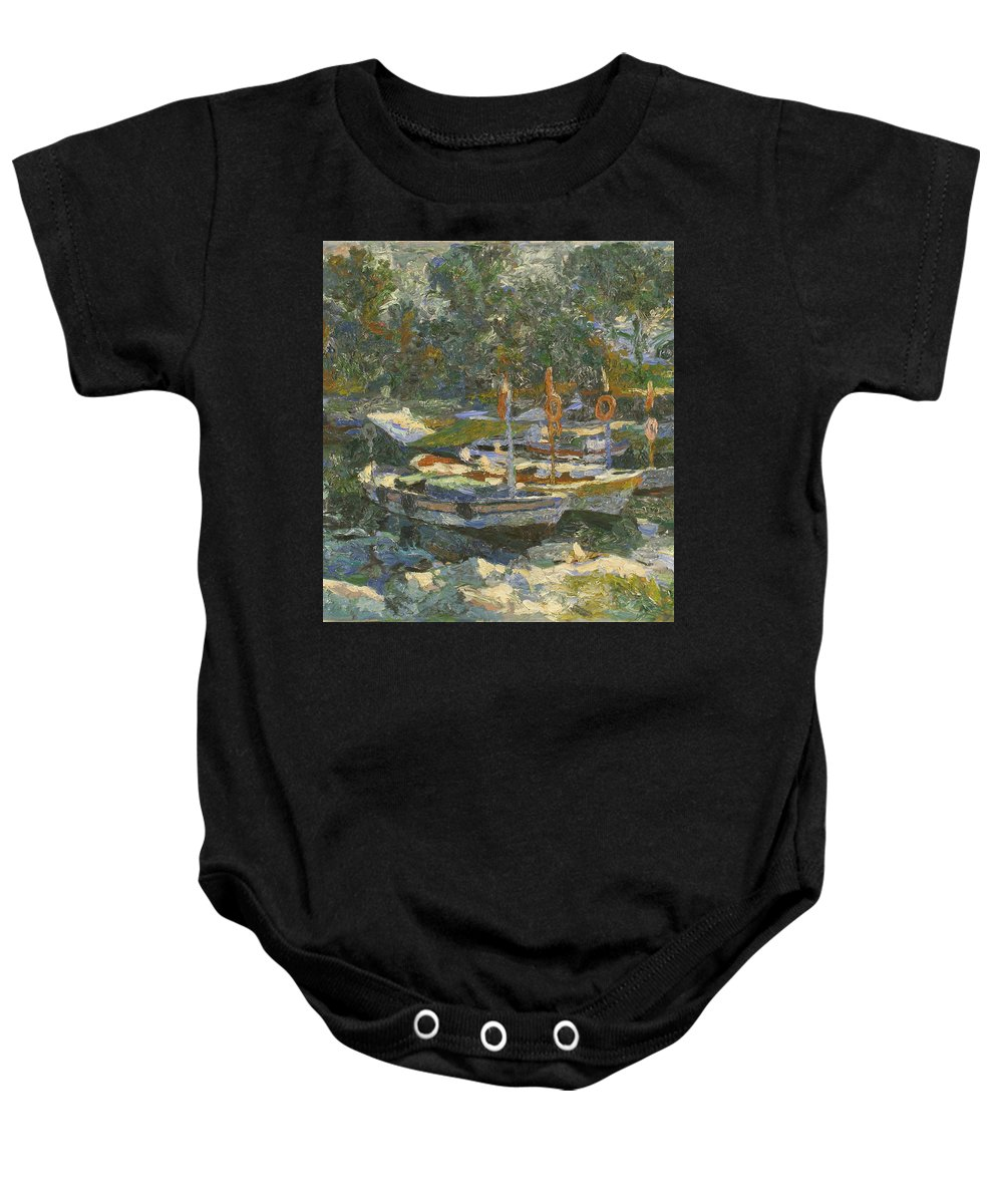 Regatta Baby Onesie featuring the painting Boats by Robert Nizamov