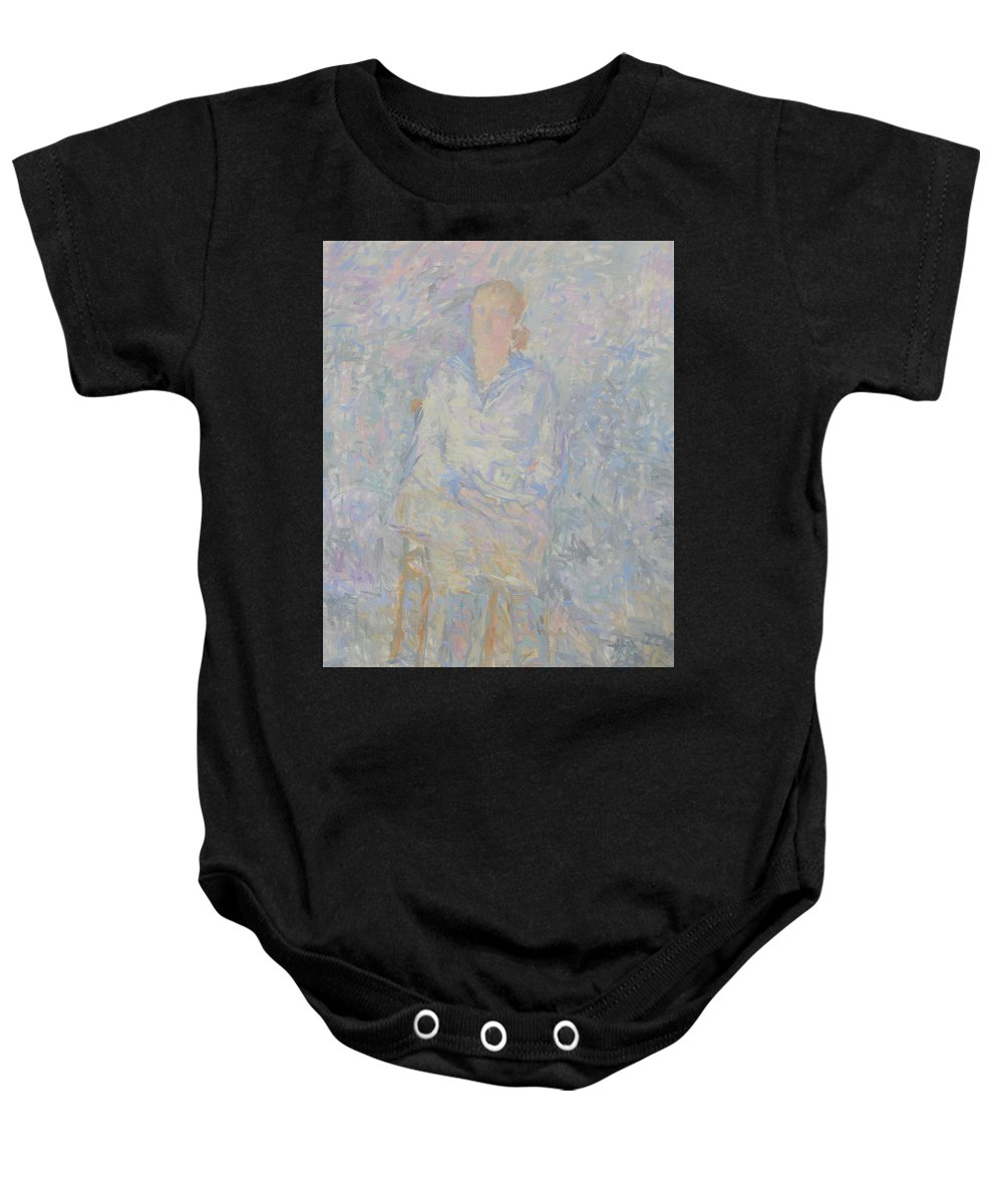Person Baby Onesie featuring the painting Portrait by Robert Nizamov