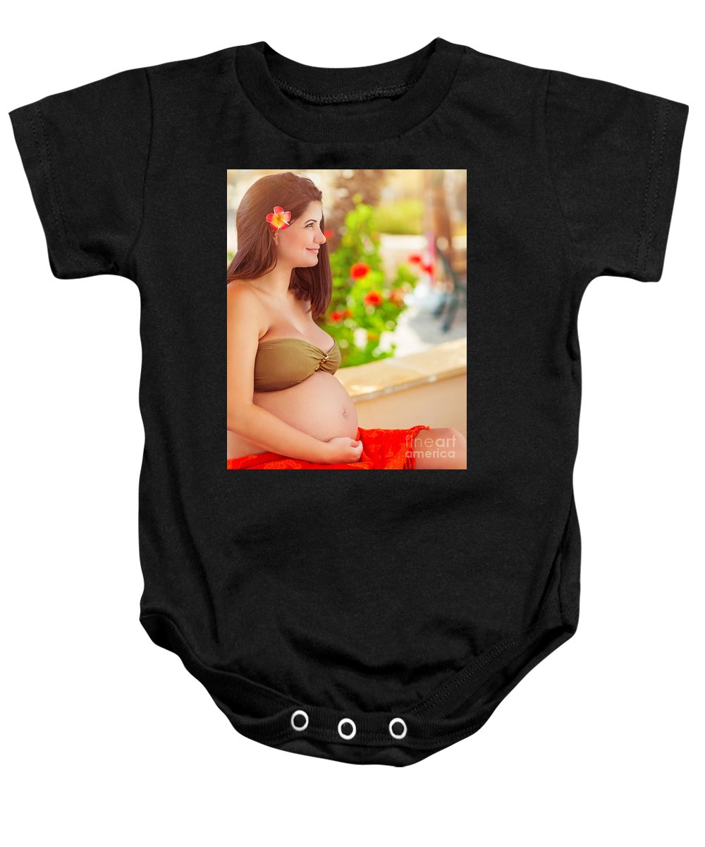 Awaiting Baby Onesie featuring the photograph Pregnant Woman On The Beach by Anna Om