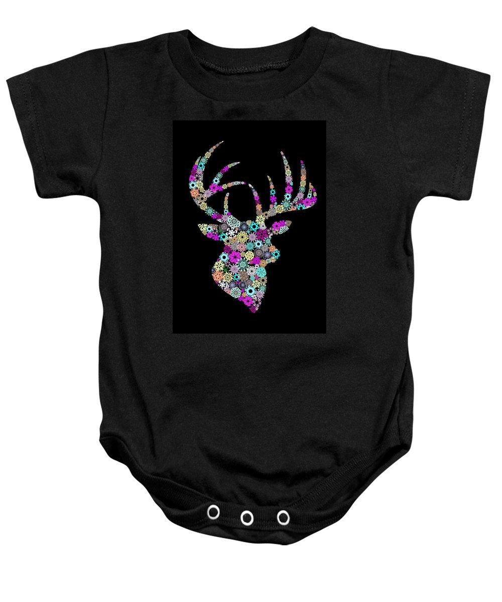 Animal Baby Onesie featuring the painting Reindeer Design By Snowflakes by Setsiri Silapasuwanchai