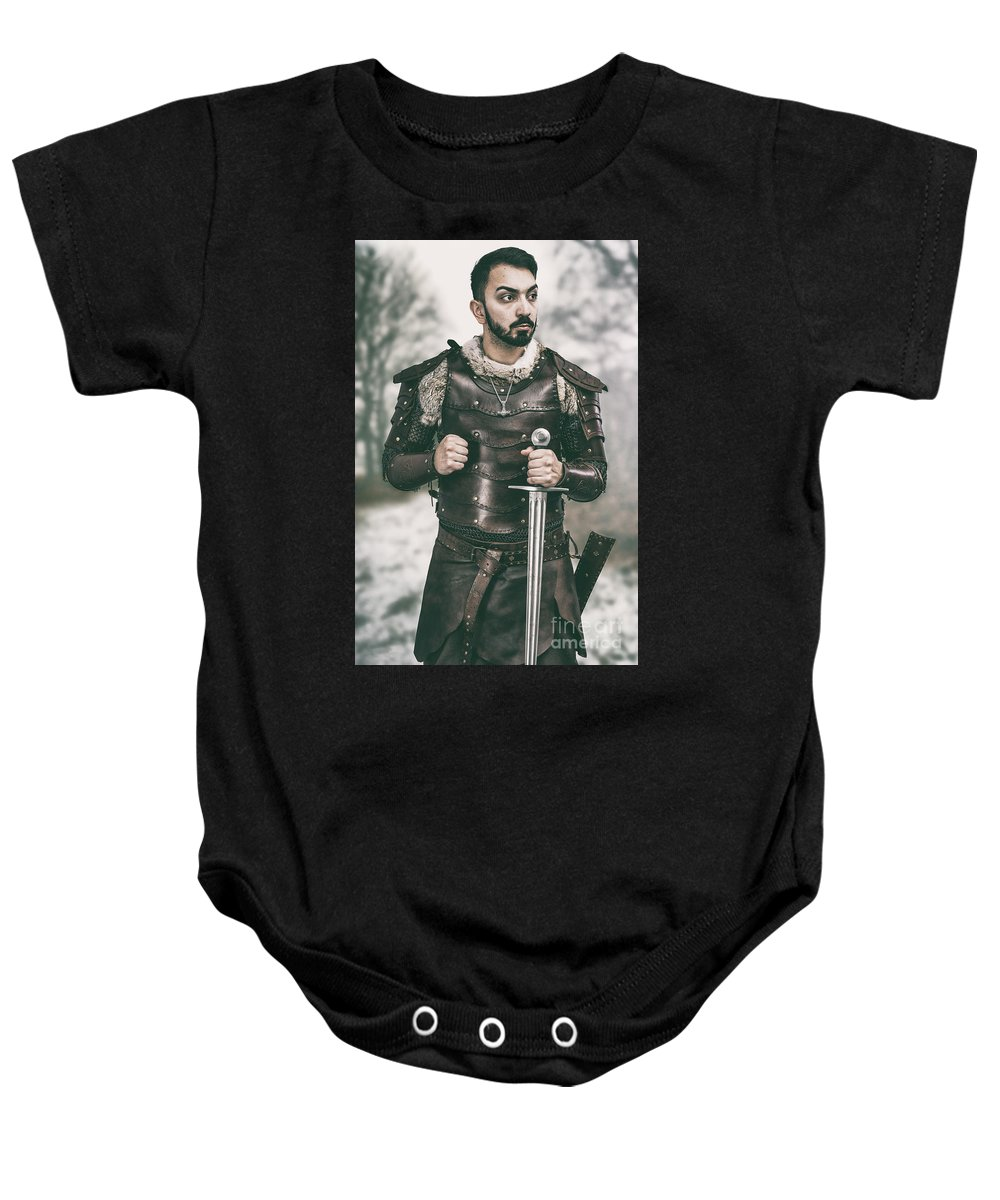 Got Baby Onesie featuring the photograph Viking Warrior With Sword by Amanda Elwell