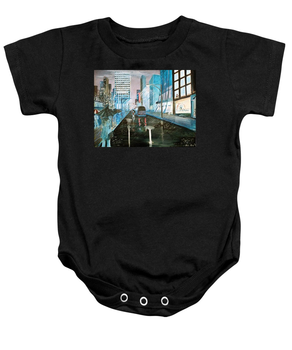 Street Scape Baby Onesie featuring the painting 42nd Street Blue by Steve Karol