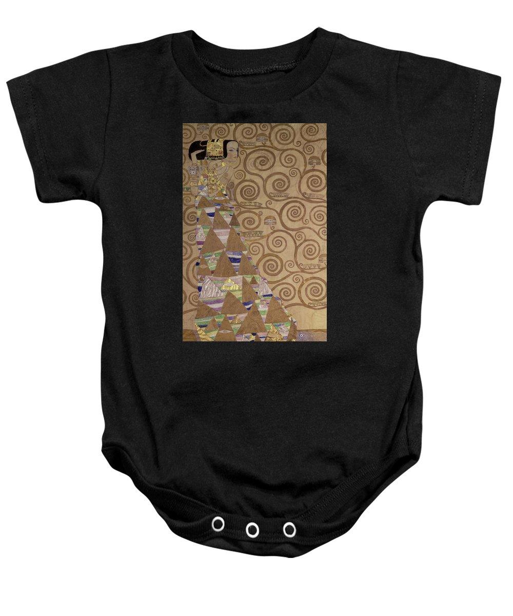 Expectation By Gustav Klimt Baby Onesie featuring the painting Expectation by Gustav Klimt