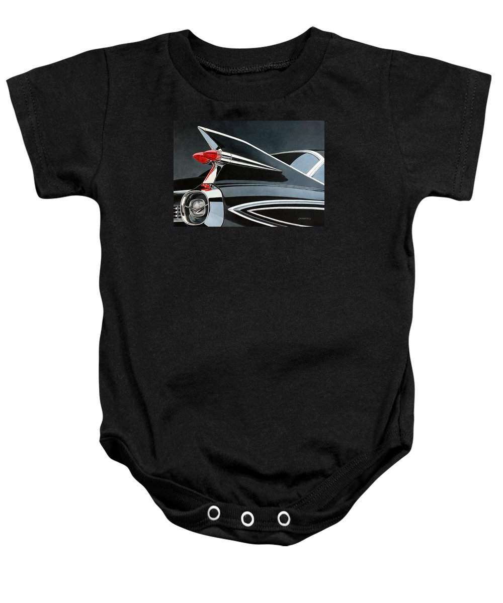 Car. Cadillac Baby Onesie featuring the painting '59's Fleetwood by Carlos Maria Ferreira Soto