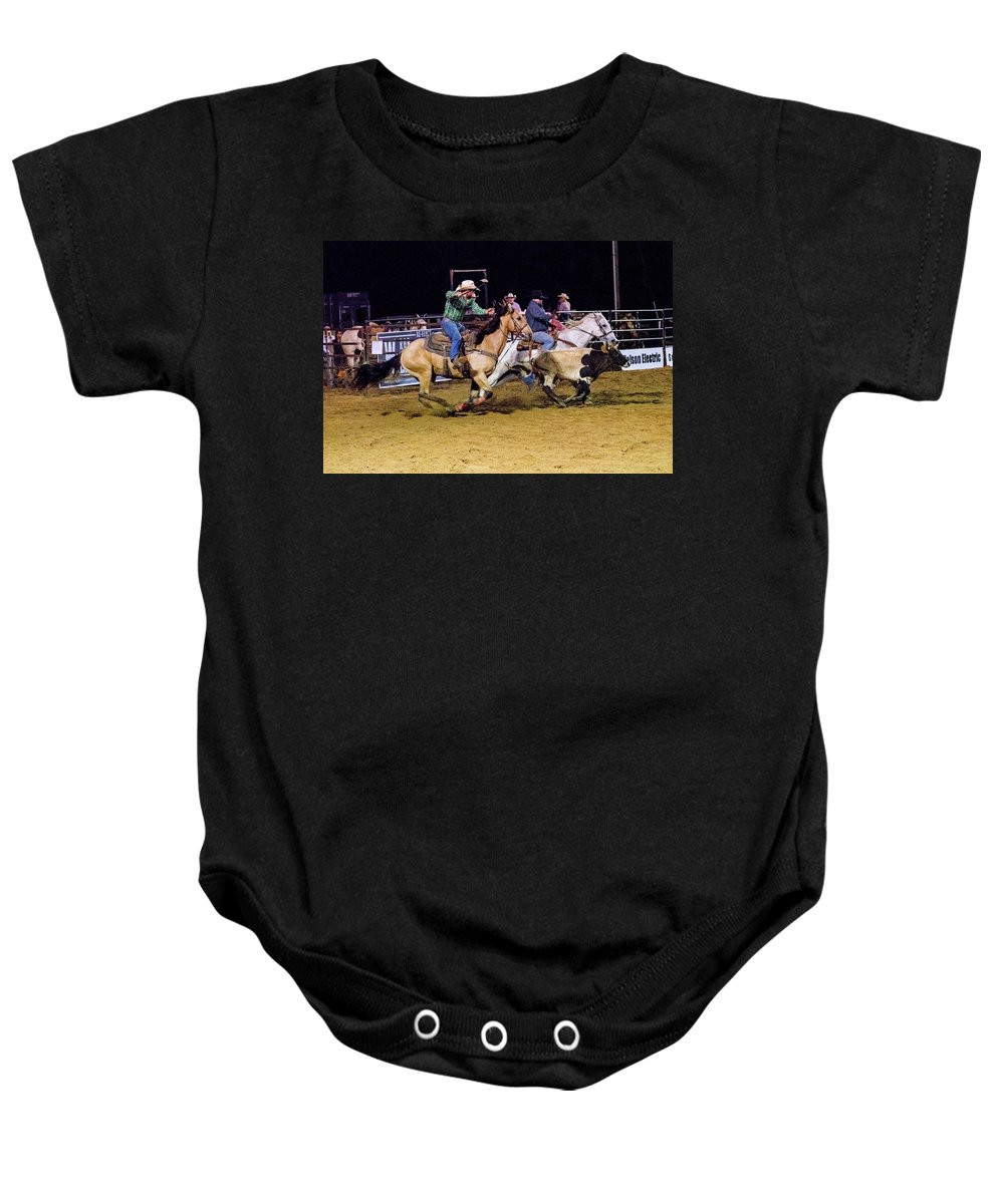 Horse Baby Onesie featuring the photograph Steer Roping by Glenn Matthews