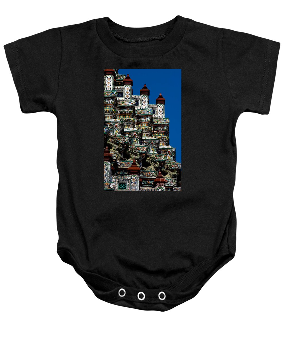 Architecture Baby Onesie featuring the photograph Temple Detail In Bangkok Thialand by Anthony Totah