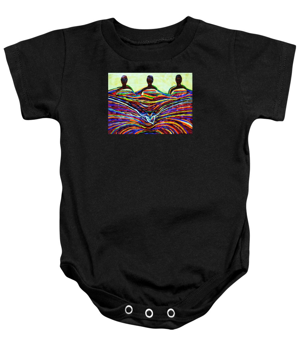 Jesus Baby Onesie featuring the painting The Holy Trinity by Gloria Ssali