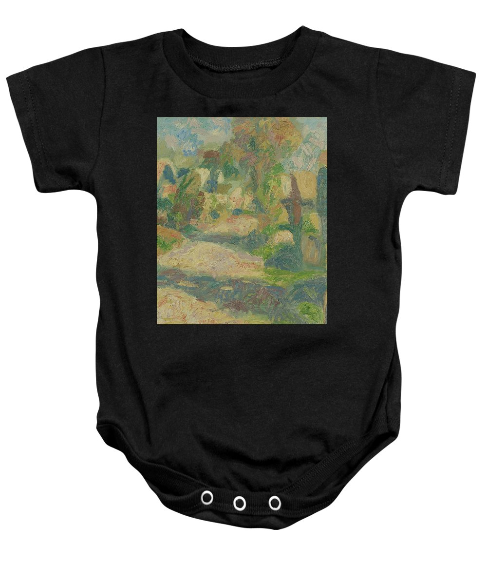 Street Baby Onesie featuring the painting Village by Robert Nizamov